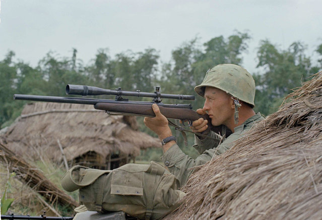 A U.S. Marine sniper seeks out Viet Cong with a high-powered rifle and scope near Que Son, Vietnam, December 13, 1965. (Photo by AP Photo)