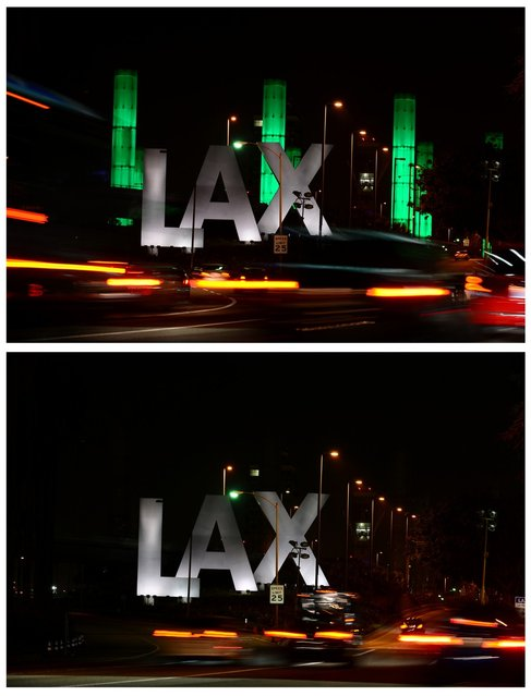 In this combo photo shows the 100-foot LAX Gateway pylons at Los Angeles International Airport are lit green (top) for an hour on March 23, 2013 in Los Angeles, California, before being turned off (bottom) and going dark for the following hour to commemorate Earth Hour 2013, with the annual global campaign engaging more than 150 nations to voluntarily participate in the no-lights show this year. (Photo by Frederic J. Brown/AFP Photo)