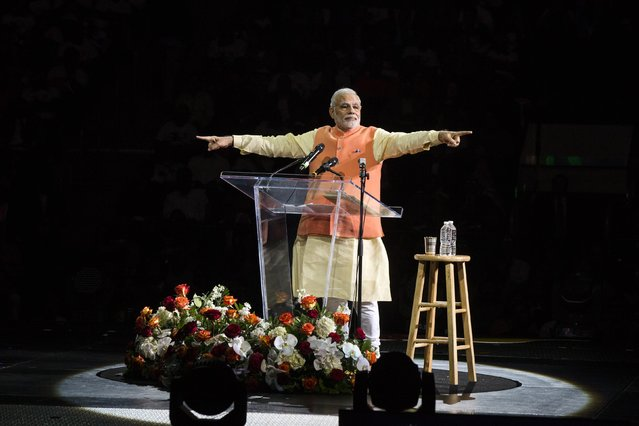 India's Prime Minister Narendra Modi gestures while speaking at Madison Square Garden in New York, during a visit to the United States, in this September 28, 2014 file photo. (Photo by Lucas Jackson/Reuters)