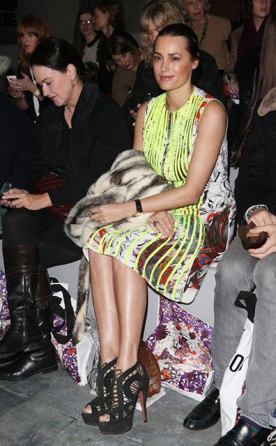 Yasmin Le Bon on the front row at the Mary Katrantzou Show at London Fashion Week Autumn/Winter 2011 at TopShop Venue on February 22, 2011 in London, England.  (Photo by Tim Whitby)