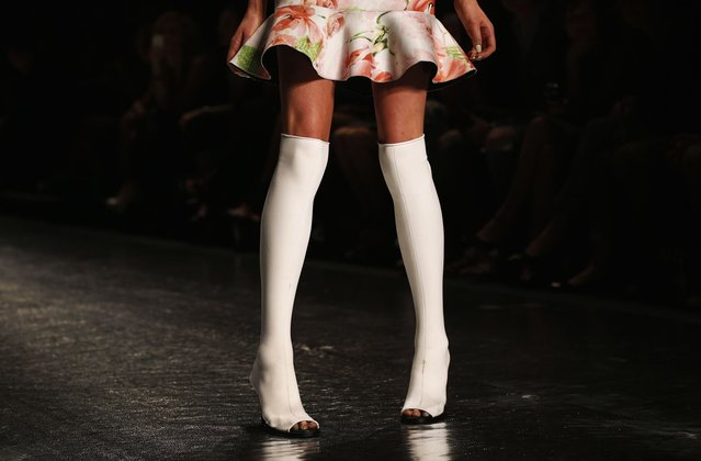 A model presents a creation by Shakuhachi during the Fashion Week Australia in Sydney April 11, 2013. Fashion Week Australia runs until April 12. (Photo by Daniel Munoz/Reuters)