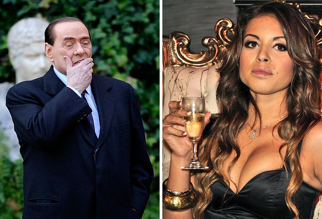 This combo image made of two recent file pictures shows Italian Prime Minister Silvio Berlusconi (L) at Villa Madama in Rome and Moroccan Karima El Mahroug, nicknamed Ruby the Heartstealer in a nightclub. Italian prosecutors on February 15, 2011 requested that Prime Minister Silvio Berlusconi be put on trial immediately for abuse of power and having s*x with an underage girl nicknamed Ruby the Heartstealer. (Photo by Filippo Monteforte/AFP Photo)