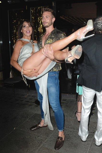 The UK socialite and TV presenter Lizzie Cundy attending her 48th Birthday party at Caramel on June 12, 2018 in London, England. (Photo by BackGrid)