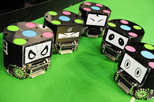 Some give numbers, others give faces to their small size soccer robots (from CSC Zhejiang University Hangzhou China), at RoboCup 2013 in Eindhoven (NL). (Photo by Bart van Overbeeke)