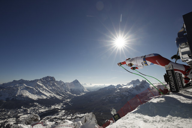 Switzerland's Carlo Janka starts a men's downhill training, at the alpine ski World Championships, in Cortina d'Ampezzo, Italy, Friday, February 12, 2021. (Photo by Gabriele Facciotti/AP Photo)