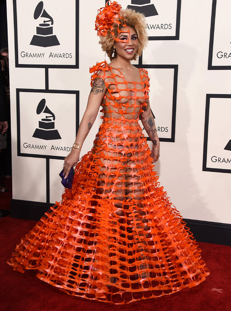 Joy Villa arrives at the 57th annual Grammy Awards at the Staples Center on Sunday, February 8, 2015, in Los Angeles. (Photo by Jordan Strauss/Invision/AP Photo)