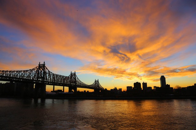The morning sky comes alive with colors over the Queensboro Bridge spanning the East River in New York City on Tuesday, January 20, 2015. (Photo by Gordon Donovan/Yahoo News)