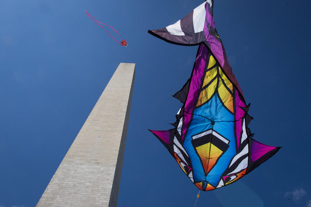 Patrons fly kites around the Washington Monument during the the 2015 Blossom Kite Festival on the National Mall in Washington, DC on Saturday March 28, 2015. (Photo by Jabin Botsford/The Washington Post)