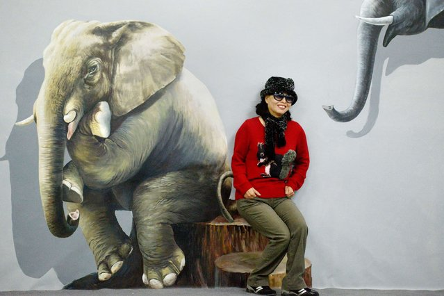 "A woman poses with a ""3D painting"" during a Magic Art Special exhibition at a gallery in Beijing on December 3, 2013. In the 3D painting exihibition, visitors are encouraged to interact with the lifelike images by touching or other creative action into the artworks. (Photo by Wang Zhao/AFP Photo)"