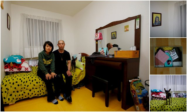 "A combination picture shows Huh Heung-hwan (R) and Park Eun-mi the parents of Huh Da-yoon, a high school student who died in the Sewol ferry disaster, as they pose for a photograph in their daughter's room, as well as details of her belongings, in Ansan April 8, 2015.  Park said: ""I haven't thought about anything but finding my daughter. I will never give up until I find her. (Photo by Kim Hong-Ji/Reuters)"