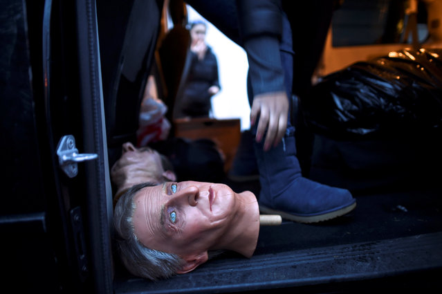 A wax figure of President William Harding is loaded into a car after an auction of the Hall of Presidents Museum, which closed in November, in Gettysburg, Pennsylvania, U.S. January 14, 2017. (Photo by Mark Makela/Reuters)