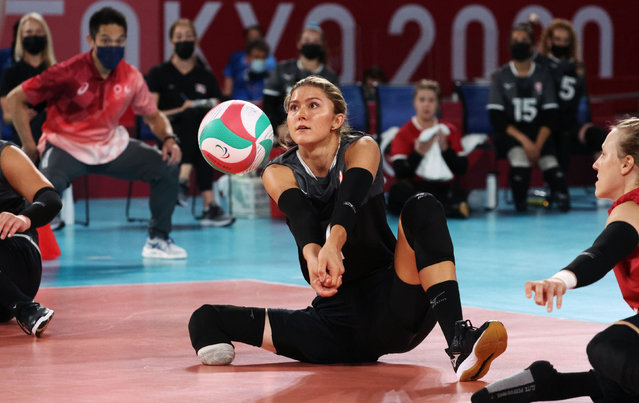 Sitting volleyball, Italy v Canada, with Jennifer Oakes of Canada in action at Makuhari Messe Hall A in Chiba, Japan on August 29, 2021. (Photo by Ivan Alvarado/Reuters)