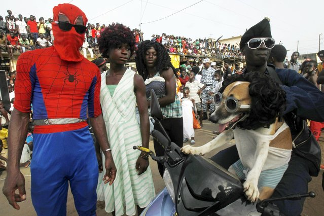 Men dressed as women, other people in costumes and a dog joins a parade during the Popo (Mask) Carnival of Bonoua, in the east of Abidjan, April 18, 2015. (Photo by Luc Gnago/Reuters)