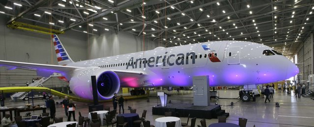 American Airlines' first Boeing 787 Dreamliner is parked in the airline's maintenance hangar at Dallas-Fort Worth International Airport, Wednesday, April 29, 2015, in Grapevine, Texas. (Photo by L. M. Otero/AP Photo)