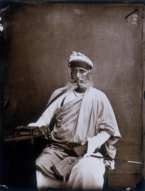 Portrait of the minister of the Maharajah, in the royal palace of Jaipur, India, circa 1857. (Photo by Maharaja Ram Singh III/Alinari Archives, Florence/Alinari via Getty Images)