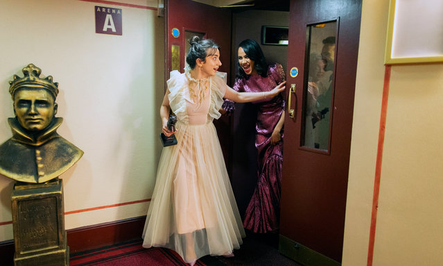 Patsy Ferran enters the winners' corridor after receiving her best actress award for Summer and Smoke, followed by Zawe Ashton and Charlie Cox from Betrayal during The Olivier Awards 2019 with Mastercard at the Royal Albert Hall on April 07, 2019 in London, England. (Photo by David Levene/The Guardian)