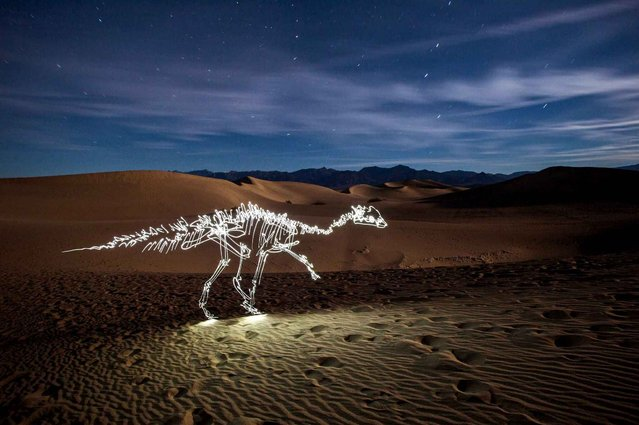 Photographer Darren Pearson puts a spin on your typical light painting photos with his skeletons and dinosaurs. He makes use of the background to give the photo more character. A dinosaur against a plain black background is cool, but drawing it against a mountain gives it a sense of scale. (Photo by Darren Pearson/Solent New/SIPA Press)
