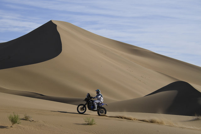 France's Adrien Van Beveren rides his Yamaha WR450F Rally during the ninth stage of the Silk Way Rally 2019 from Alashan  to Jiayuguan on July 15, 2019. (Photo by Damien Meyer/AFP Photo)