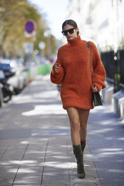Sara Sampaio seen wearing a orange sweater during Paris Fashion Week Spring/Summer 2019 on September 26, 2018 in Paris, France. (Photo by Timur Emek/Getty Images)