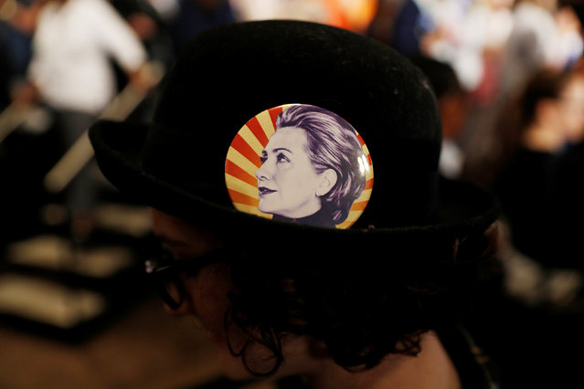 A supporter wears a pin of Democratic U.S. presidential candidate Hillary Clinton during a campaign event in San Jose, California, U.S. May 26, 2016. (Photo by Stephen Lam/Reuters)