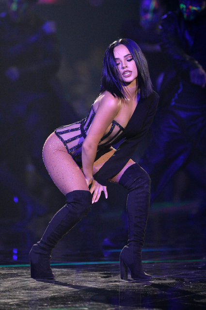 Becky G performs on stage during the MTV EMAs 2019 at FIBES Conference and Exhibition Centre on November 03, 2019 in Seville, Spain. (Photo by Jeff Spicer/Getty Images for MTV)