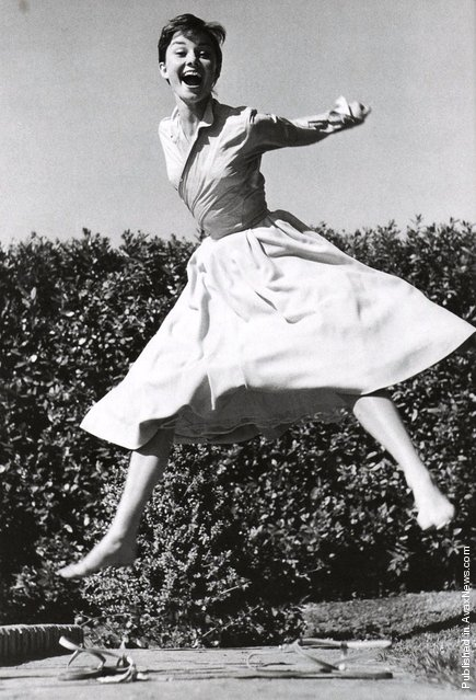 British actress and humanitarian Audrey Hepburn, 1955. Jumpology