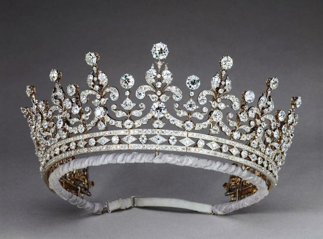 The Girls of Great Britain Tiara part of a exhibition of royal gems being staged to mark the Queen's 60-year reign at the Queen's gallery, Buckingham, Palace, London