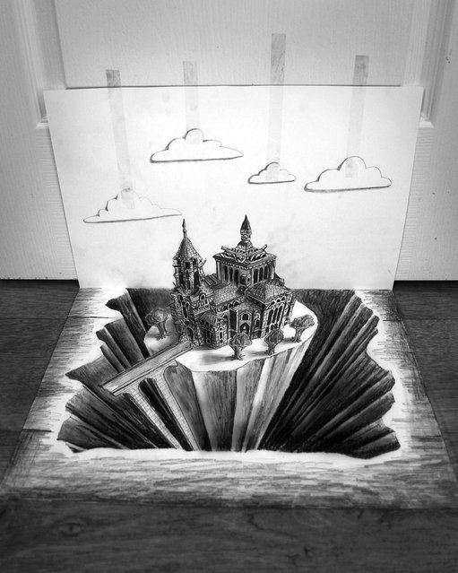 Ramon Bruin's black and white 3D illustration of a church in the middle of a gaping chasm. (Photo by Ramon Bruin/Medavia)