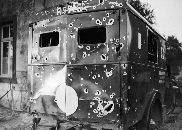 A bullet-riddled French ambulance, machine-gunned by Germans on a trip out of a fighting zone in France on June 6, 1940. (Photo by AP Photo)
