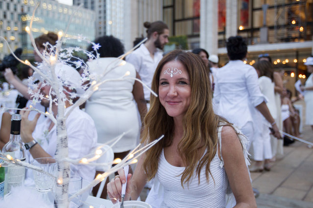 Marla Roberts at the annual Dinner en Blanc, this year hosted in Lincoln Center in New York, USA on August 22, 2017. (Photo by Erik Thomas/The New York Post)