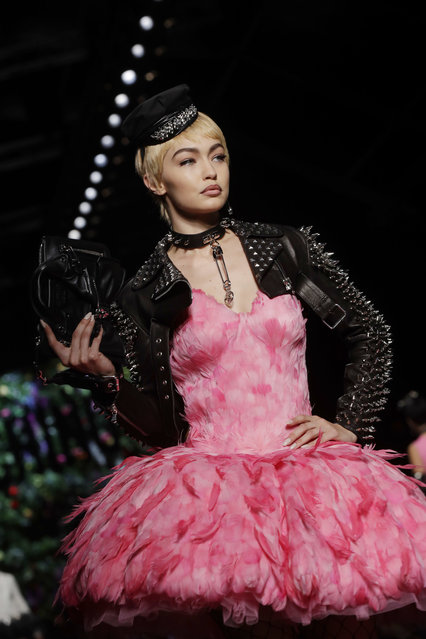 Gigi Hadid wears a creation as part of the Moschino women's Fall/Winter 2018/19 fashion collection, presented in Milan, Italy, Thursday, September 21, 2017. (Photo by Luca Bruno/AP Photo)