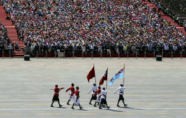 Fijian soldiers march during the military parade to mark the 70th Anniversary of the end of World War Two, in Beijing, China, September 3, 2015. (Photo by Reuters/China Daily)