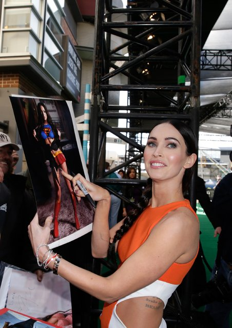 """Megan Fox arrives at the Sydney Special Event Screening of """"Teenage Mutant Ninja Turtles"""" at The Entertainment Quarter on September 7, 2014 in Sydney, Australia. (Photo by Mark Metcalfe/Getty Images for Paramount International)"""