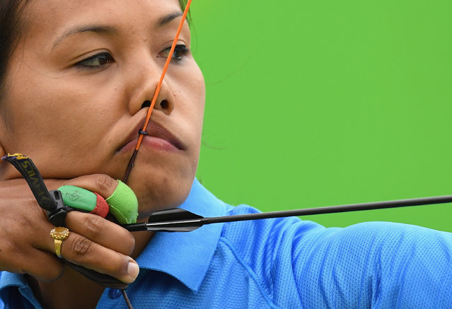 Bombayla Devi Laishram of India competes in the Women's Individual round of 32 Elimination Round on Day 5 of the Rio 2016 Olympic Games at the Sambodromo on August 10, 2016 in Rio de Janeiro, Brazil. (Photo by Quinn Rooney/Getty Images)