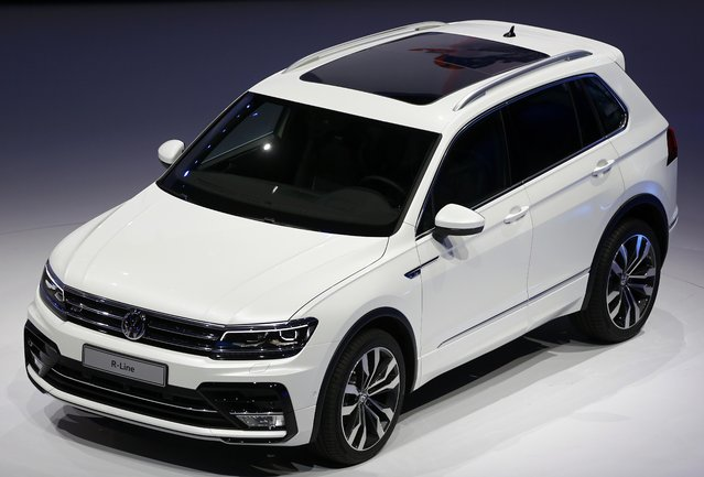 Volkswagen Tiguan R-Line car is presented during the Volkswagen group night ahead of the Frankfurt Motor Show (IAA) in Frankfurt, Germany, September 14, 2015. (Photo by Kai Pfaffenbach/Reuters)
