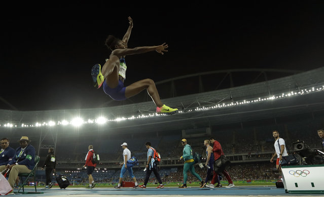 United States' Tianna Bartoletta in action during the women's long jump final, during the athletics competitions of the 2016 Summer Olympics at the Olympic stadium in Rio de Janeiro, Brazil, Wednesday, August 17, 2016. (Photo by Matt Dunham/AP Photo)