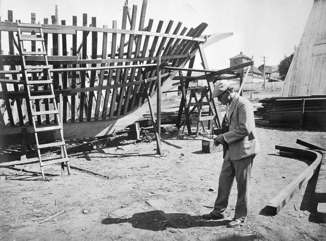 Jack London photographing the skeleton of the Snark, in which he sailed across the south Pacific, in San Francisco Bay, 1906. Jack London was a prolific photographer in addition to his writing. (Photo by Jack London/Courtesy of Contrasto)
