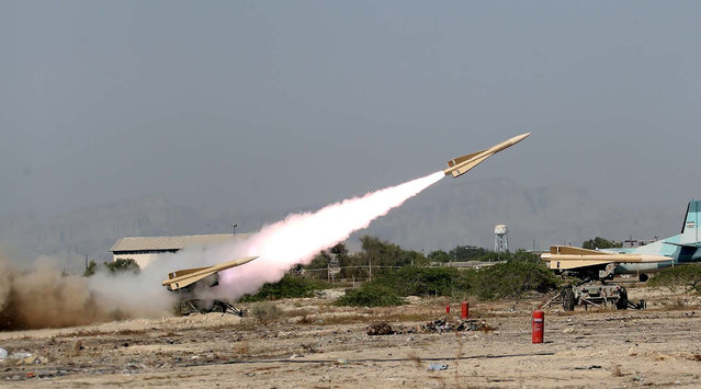 """A missile is launched during the annual military drill, dubbed """"Zolphaghar 99"""", in the Gulf of Oman with the participation of Navy, Air and Ground forces, Iran on September 8, 2020. (Photo by WANA (West Asia News Agency) via Reuters)"""