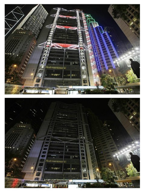In this composite image, The Bank of China Tower, Cheung Kong Centre, HSBC building and Standard Charter Bank Building are seen before (top) and after the lights were switched off to recognize Earth Hour on on March 23, 2013 in Hong Kong, Hong Kong. Businesses and households around the world will turn their lights off for on hour at 20:30 local time today, to celebrate Earth Hour, raise awareness about climate change and to show support for the use of renewable energy. Earth hour began in Australia in 2007 and is now celebrated in over 150 countries around the world. (Photo by Jessica Hromas)