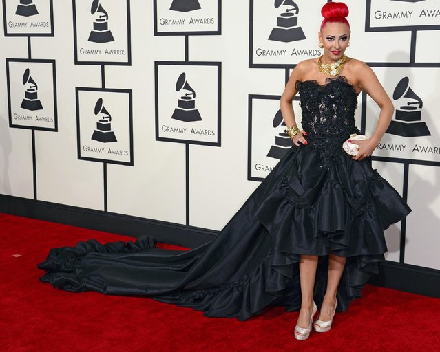 Kaya Jones arrives for the 57th annual Grammy Awards held at the Staples Center in Los Angeles, California, USA, 08 February 2015. (Photo by Michael Nelson/EPA)