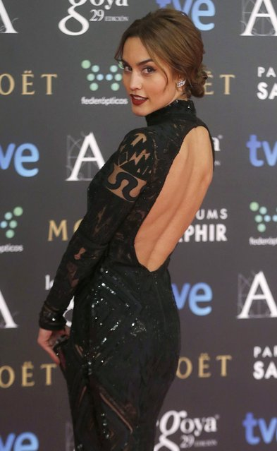 Spanish actress Megan Montaner poses on the red carpet before the Spanish Film Academy's Goya Awards ceremony in Madrid, February 7, 2015. (Photo by Javier Barbancho/Reuters)