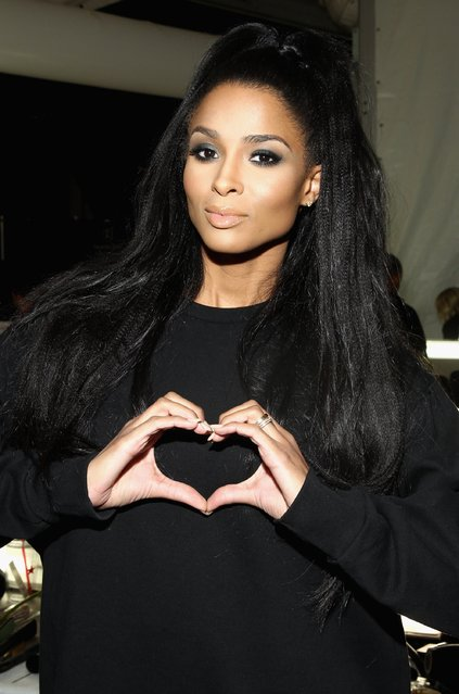 Ciara poses backstage at the Go Red For Women Red Dress Collection 2015 presented by Macy's fashion show during Mercedes-Benz Fashion Week Fall 2015 at The Theatre at Lincoln Center on February 12, 2015 in New York City. (Photo by Astrid Stawiarz/Getty Images for Go Red)