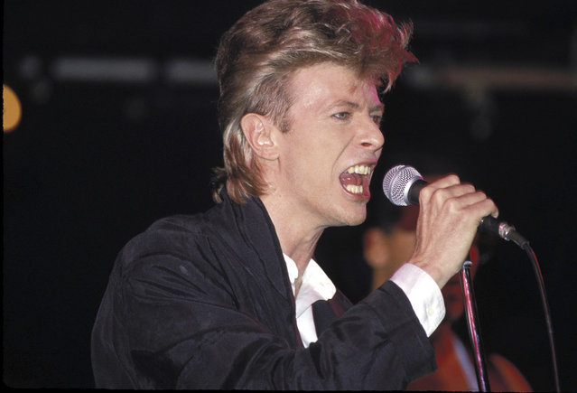 Singer David Bowie performs during his Glass Spider tour in 1987,  at Sydney Entertainment Centre. (Photo by Patrick Riviere/Getty Images).