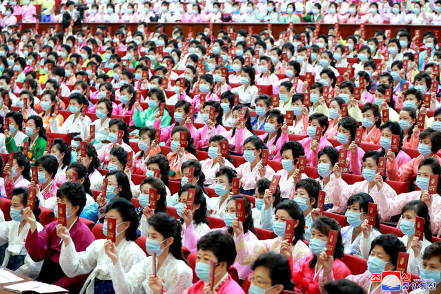 An undated photo released by the official North Korean Central News Agency (KCNA) on 22 June 2021 shows people attending the 7th Congress of the Socialist Women's Union of Korea (SWUK) in Pyongyang, North Korea (issued 22 June 2021). The congress was held on 20-21 June 2021. (Photo by KCNA/EPA/EFE)