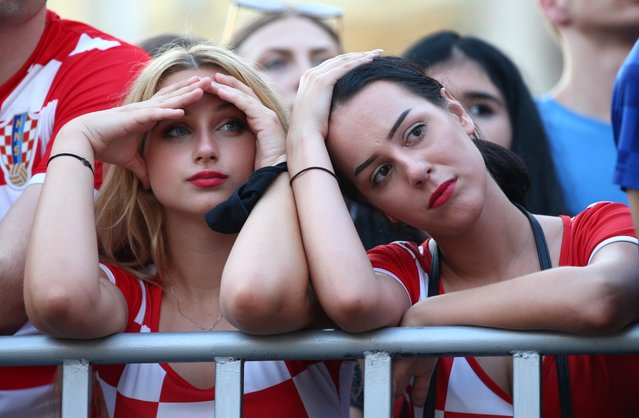 Fans of Croatia are seen during the UEFA Euro 2020 Championship Round of 16 match between Croatia and Spain at Parken Stadium on June 28, 2021 in Copenhagen, Denmark. (Photo by Antonio Bronic/Reuters)
