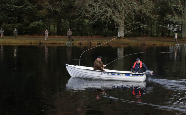 Scott MacKenzie casts the first line on the opening day of the salmon fishing season on the River Tay at Kenmore in Scotland, Britain January 16, 2017. (Photo by Russell Cheyne/Reuters)