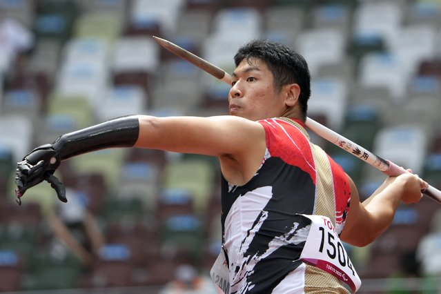 Japan's Takuya Shiramasa competes during the men's javelin throw F46 in the 2020 Paralympics at the National Stadium in Tokyo, Monday, August 30, 2021. (Photo by Eugene Hoshiko/AP Photo)