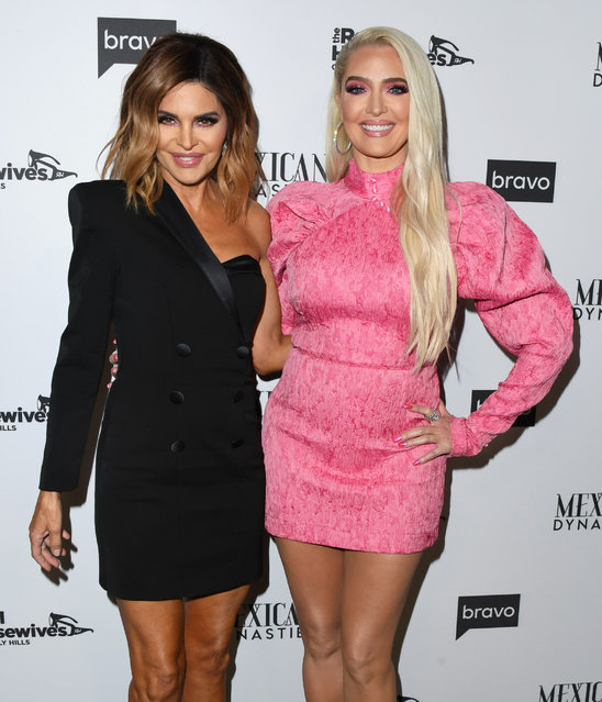 """Lisa Rinna and Erika Jayne attend Bravo's Premiere Party For """"The Real Housewives Of Beverly Hills"""" Season 9 And """"Mexican Dynasties""""at Gracias Madre on February 12, 2019 in West Hollywood, California. (Photo by Jon Kopaloff/Getty Images)"""