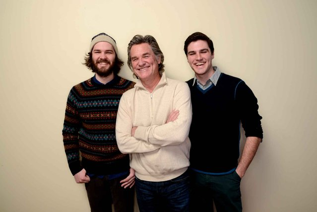 (L-R) Filmmaker Chapman Way, actor Kurt Russell, and filmmaker Maclain Way pose for a portrait during the 2014 Sundance Film Festival at the WireImage Portrait Studio at the Village At The Lift on January 20, 2014 in Park City, Utah. (Photo by Larry Busacca/AFP Photo)