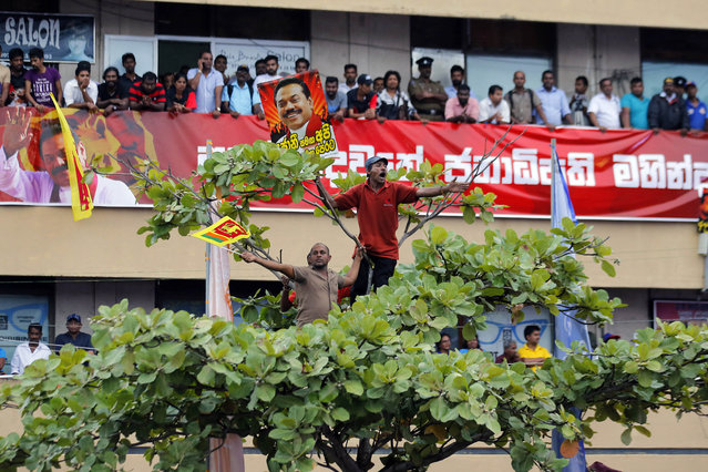 Supporters of former Sri Lankan president and present opposition lawmaker Mahinda Rajapaksa cheer for him from the top of a tree during a public rally organized against the government, in Nugegoda, on the outskirts of Colombo, Sri Lanka, Friday, January 27, 2017. Rajapaksa set off his campaign to defeat the current government accusing it for corruption and mismanagement. (Photo by Eranga Jayawardena/AP Photo)